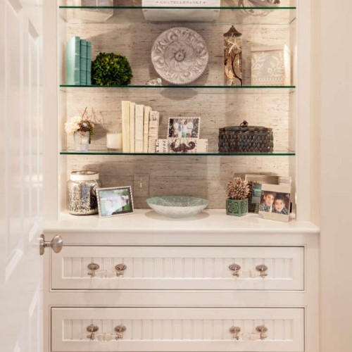 dresser with shelves and décor in Westport MA