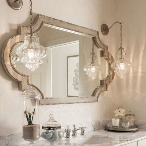 bathroom sink with mirror and lights in Chatham MA