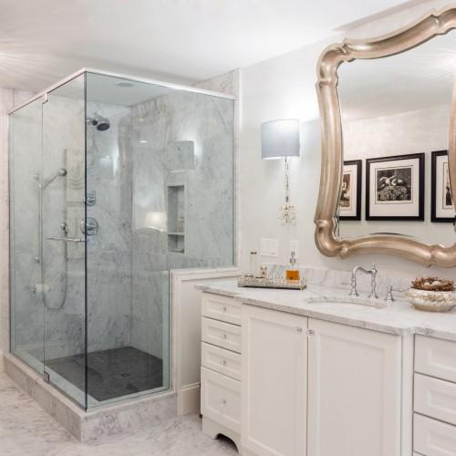 bathroom sink mirror and glass shower in Wellfleet MA