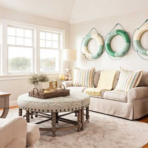 dining room with coffee table and ring buoys in Orleans MA