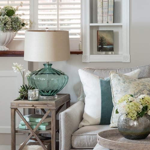 blue and white themed couch end table and lamp in Osterville MA