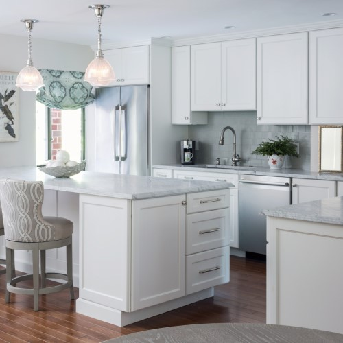 modern kitchen with island and chairs in Humarock MA
