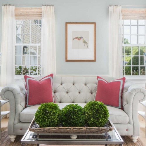 light grey couch with pink pillows in Duxbury MA