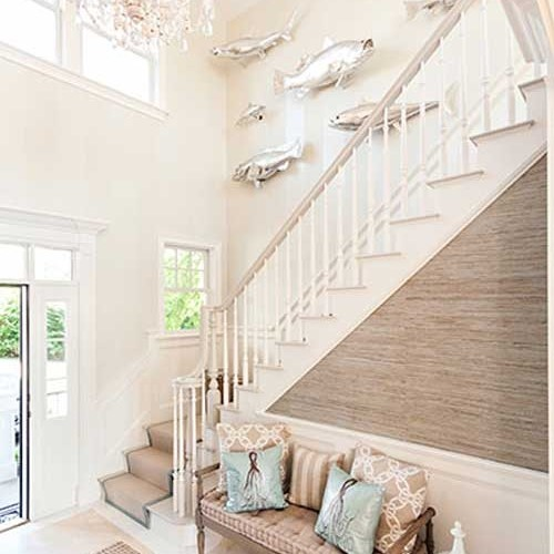 stairs with seaside design and sitting bench in Mashpee MA