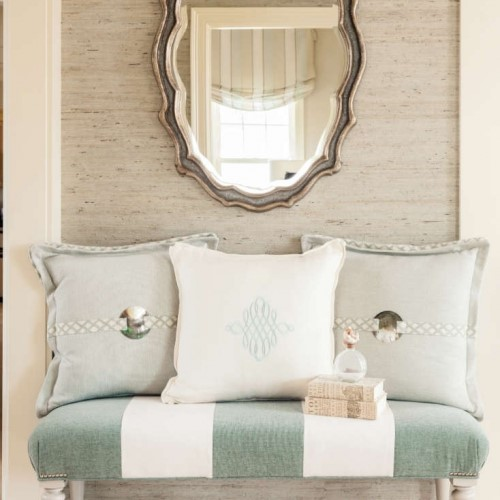 sweethheart bench with pillows and mirror in Mattapoisett MA